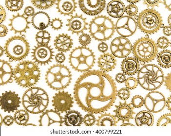 A huge set of rusty metal gears isolated on a white background / cogs (gears) on white background