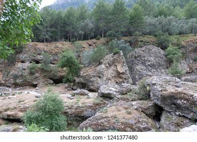 Huge skads in the gorge of Samaria, Crete, Greece. National Reserve gorge Samaria.