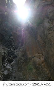 Huge skads in the gorge of Samaria, Crete, Greece. National Reserve gorge Samaria. Sun ray in the mountains