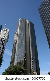 Huge skyscrapers in Brisbane, QLD, Australia. Financial district.