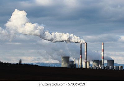 huge smoke from brown coal power plant factory