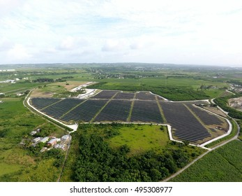 Huge Solar Farm Renewable clean Energy   Center with many Photovoltaic Panels across Acres of land in the Caribbean  - 8 October 2016