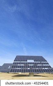 huge solar panels and blue sky