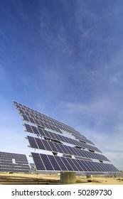 huge solar panels and blue sky