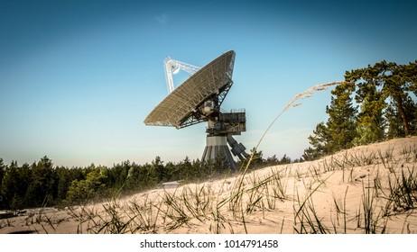 A huge soviet radio telescope near abandoned military town Irbene in Latvia