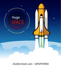 Huge space, the shuttle departing to the sky.