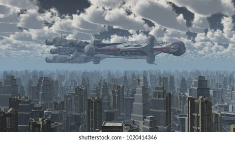 Huge spaceship over a big city Computer generated 3D illustration