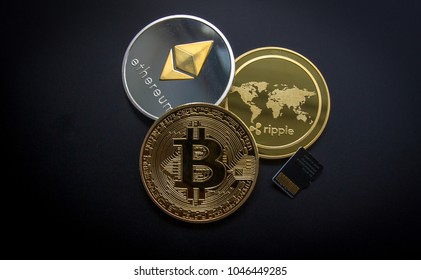Huge stack of cryptocurrencies in a circle with a golden bitcoin in the middle. Bitcoin as most important cryptocurrency concept
