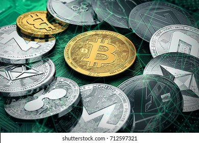 Huge stack of cryptocurrencies in a circle with a golden bitcoin in the middle. Bitcoin as most important cryptocurrency concept. 3D illustration