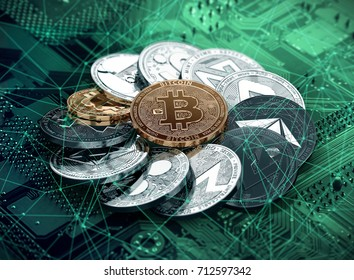 Huge stack of cryptocurrencies in a circle with a golden bitcoin in the middle. Different cryptocurrencies concept. 3D illustration
