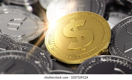Huge stack of cryptocurrencies with a golden bitcoin on the front as the leader and sun flare as optimistic prediction. Bitcoin as most important cryptocurrency concept.