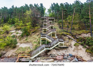 Huge stairs on a Kawcza Gora mount in Miedzyzdroje village over Baltic Sea, Poland