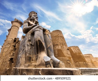 The huge statue of Ramesses II in Luxor Temple, Egypt