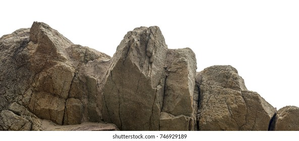 Huge stone mountain isolated on white background