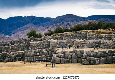 huge stone walls of Sacsayhuaman near Cusco, Peru
