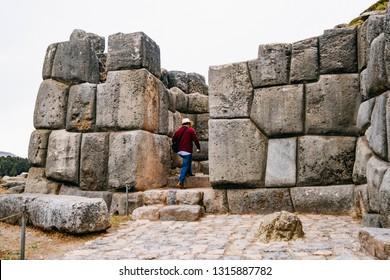 huge stone walls of Sacsayhuaman near Cusco, Peru