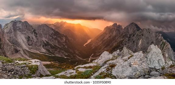 The huge storm is coming in Julian Alps, Slovenia
