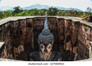 Huge Sukhothai stucco Buddha image of Wat Si Chum, Sukhothai, Thailand