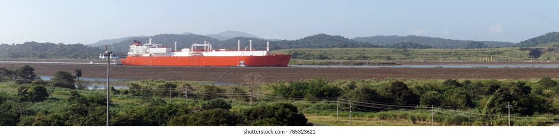 Huge tanker moves through the new, larger locks of the Panama Canal