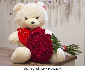 Huge Teddy Bear Holding Amazing Bouquet Stock Photo Edit Now