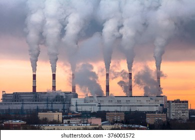 Huge Thermal Power plant with smoking chimneys