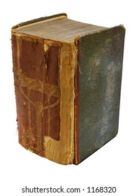 A huge, thick, very battered book, isolated on white. Space for text on the spine, or the stained front cover. Clipping path included.