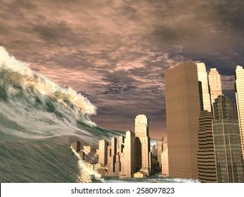Huge tsunami sweeping city