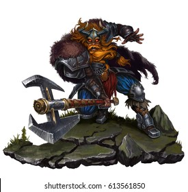 Huge Viking with a two-handed on rock