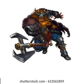 Huge Viking with a two-handed on white