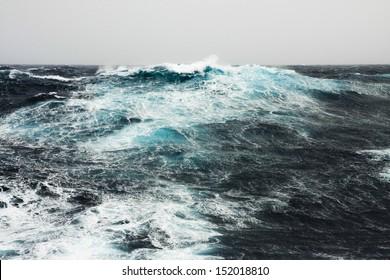 Huge Wave Crashing Down at Storming North Atlantic