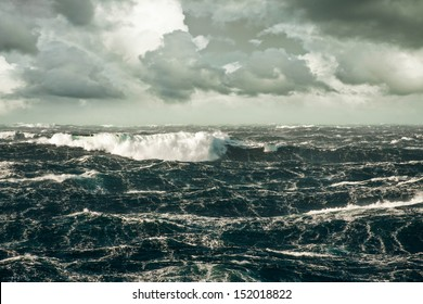 Huge Wave Crashing Down at Storming North Atlantic
