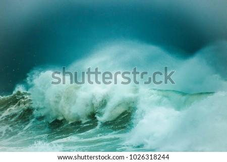 Huge Waves Crashing On Beach On Stock Photo (Edit Now) 1026318244