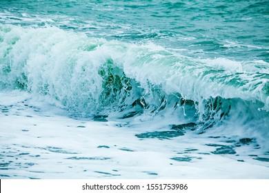 A huge waves on the ocean coast. Wonderful romantic seascape of ocean coastline