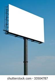 huge white blank billboard with blue sky