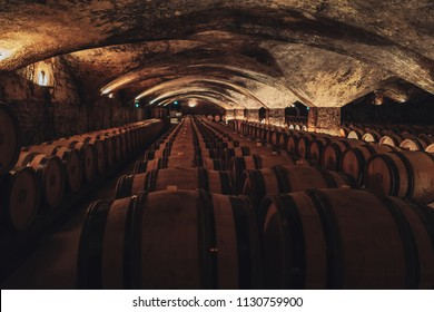 Huge wine cellar in Burgundy, south of France