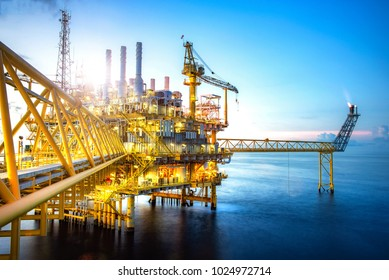 A huge yellow of offshore oil rig drilling platform in the gulf of Thailand,Process platform for production oil and gas,Petroleum production and exploration industrial