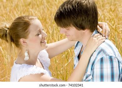 hugging couple's portrait
