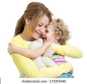 hugging mother and kid girl