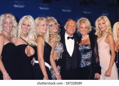Hugh Hefner, w/Playmates, at FRIAR'S CLUB ROAST TO HUGH HEFNER, NY 9/29/01