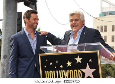 Hugh Jackman & Jay Leno (right) on Hollywood Blvd where Jackman was honored with the 2,487th star on the Hollywood Walk of Fame. December 13, 2012  Los Angeles, CA Picture: Paul Smith