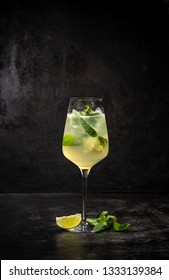 Hugo cocktail, Italian aperitif made with Prosecco wine, lime, mint and melissa syrup