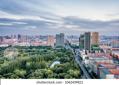 Huhhot, Inner Mongolia, China Qingcheng Park Ferris wheel high angle scenery