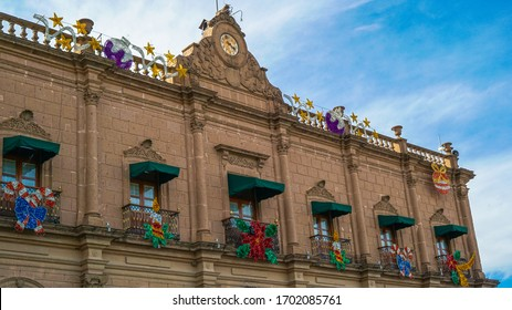 Huichapan-Hidalgo, Mexico, december 22-2019. Lateral view of the building of the municipal presidency of the magical town of Huichapan,  with a beautiful clock on the tip.