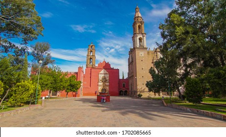 Huichapan-Hidalgo, Mexico, december 22-2019. Panoramic front view of the set of three churches located in the historic center of the magical town of Huichapan