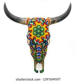 Huichol Beaded Bull Cow Skull Wall Mount Mexican Folk Art