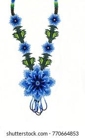 Huichol necklace of blue hippie style,