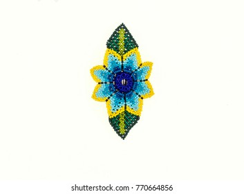 Huichol necklace of blue hippie style,