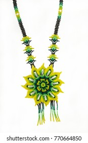 Huichol necklace of green hippie style chaquira,