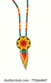 Huichol necklace of orange hippie style chaquira,