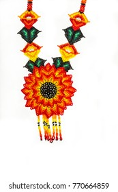 Huichol necklace of orange hippie style chaquira,
